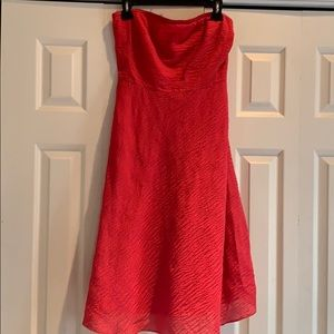 J Crew Red/coral orange Strapless Dress